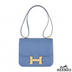 Hermes Constance Epsom Bag Azur Blue 24cm